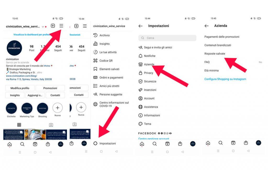creare risposte automatiche con instagram